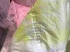 ポリエステル不織布素材に型押し名入れを施し素材を作成